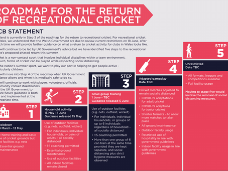 ROADMAP FOR THE PHASED RETURN OF RECREATIONAL CRICKET THIS SUMMER