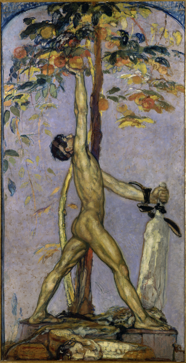 Fixed star Eltanin, Georges Desvallieres, Hercules in the garden of Hesperides1914