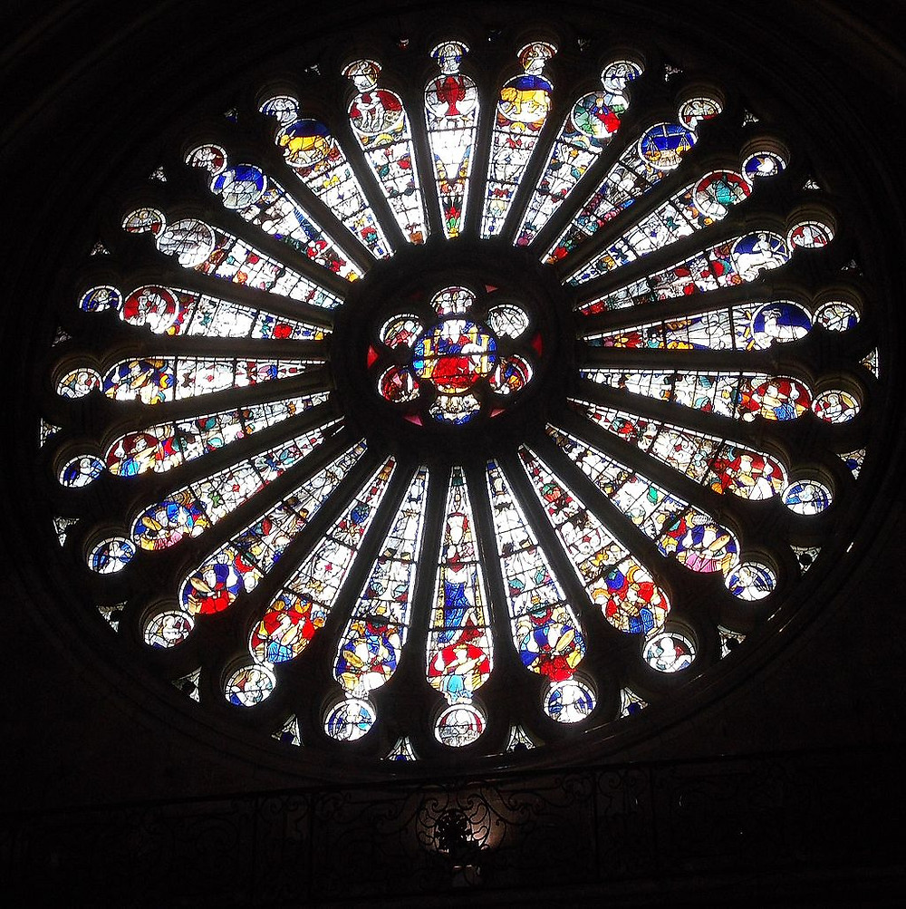 Angers catholic cathedral, rose window of Christ 1401, shows the astrological signs and bottom half the elders, astrology blog