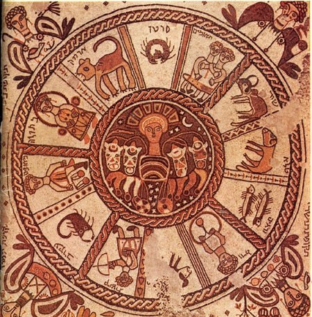 Ceiling of 6th century Jewish synagogue in Beit Alpha Israel shows the 12 sign zodiac, astrology blog