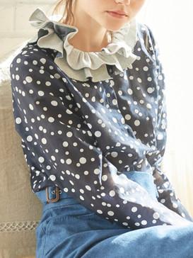 Denim collar blouse