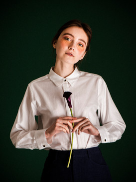 Antique buttons embellished cotton poplin -shirt