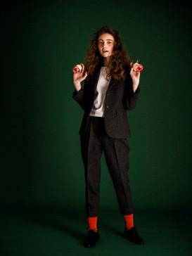 Wool-pique pants