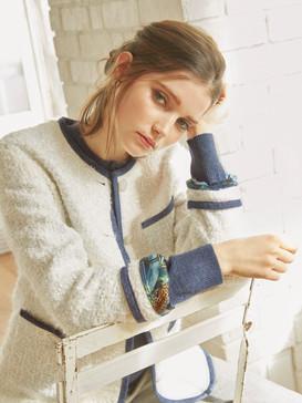 Printed crepe embellished tweed jacket