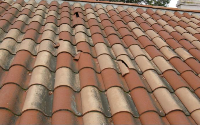 Wind damage Tile Roof