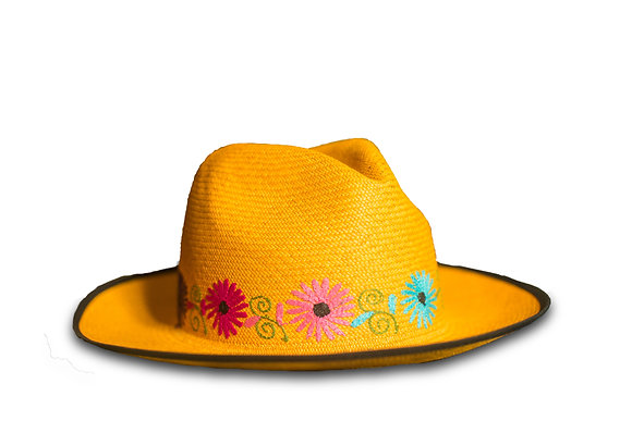 Panama hat yellow and black 30%OFF