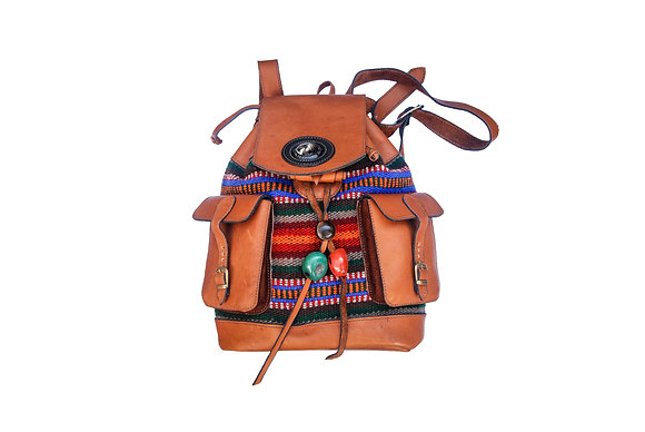 Aboriginal leather backpack  (brown)