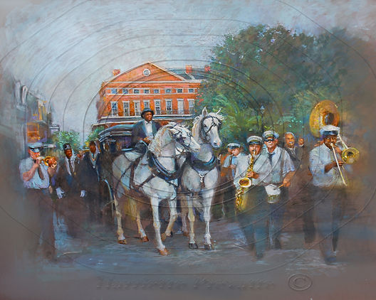 A New Orleans Jazz Parade winding through Jackson Square in the French Quarter of New Orleans.Watercolor and pencil on dark toned board.