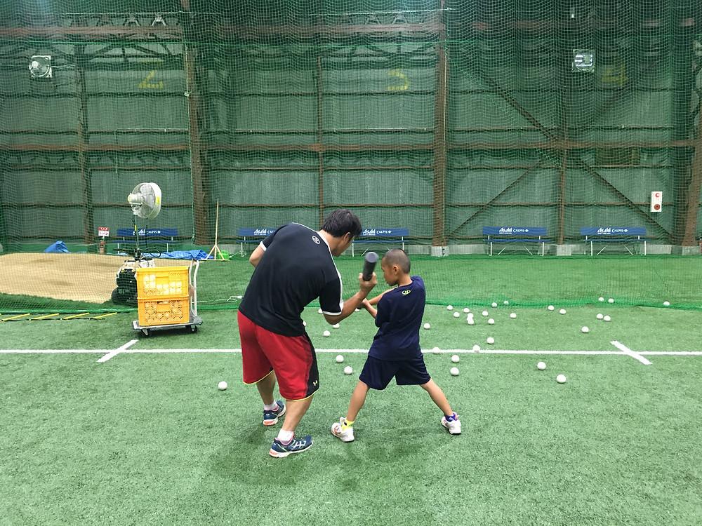 ブリスフィールド東大阪 野球教室 バッティング練習