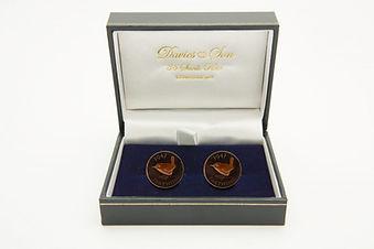 Farthing Wren cufflinks in davies and son box