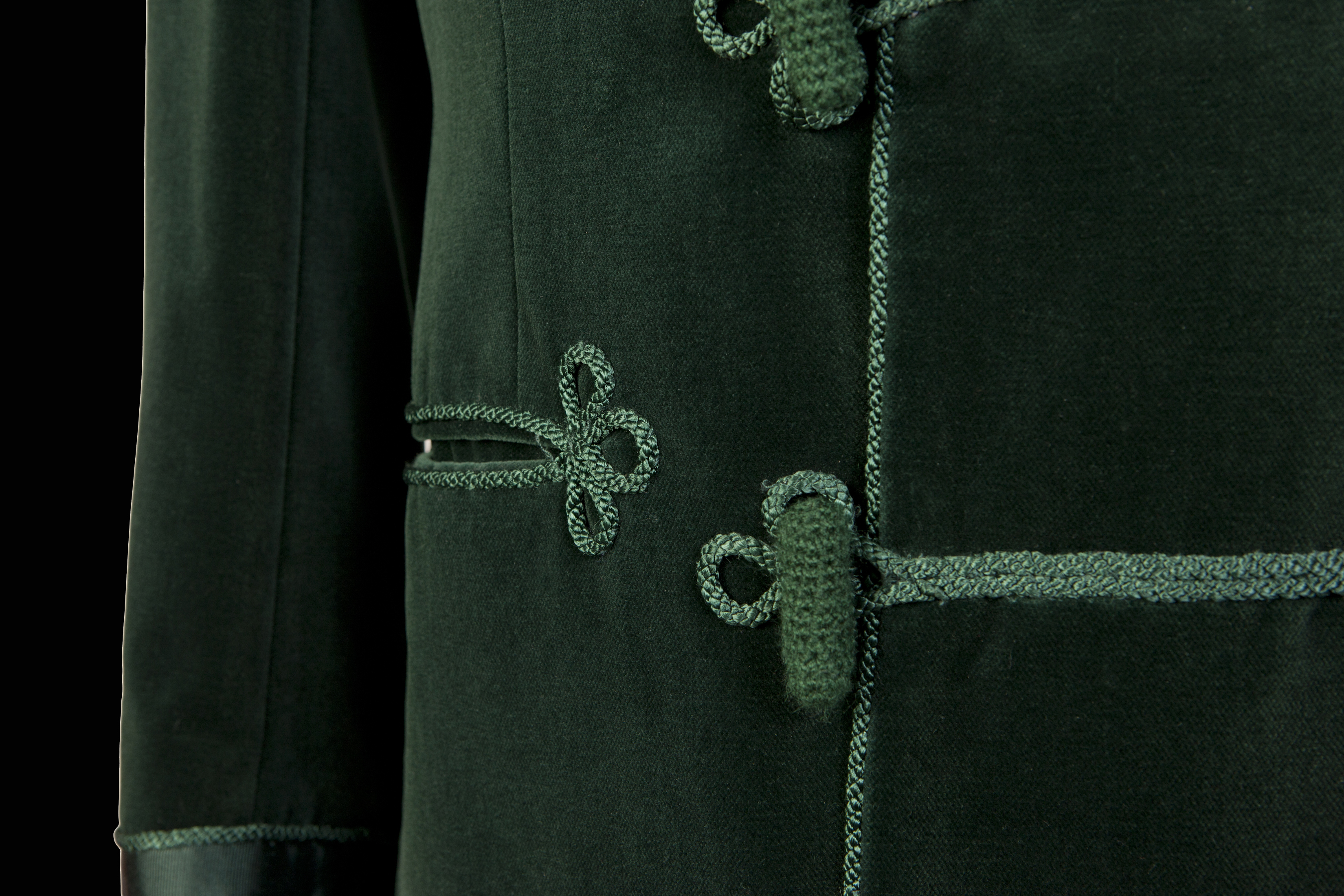 Green Frogging Detail on Savile Row Velvet Jacket