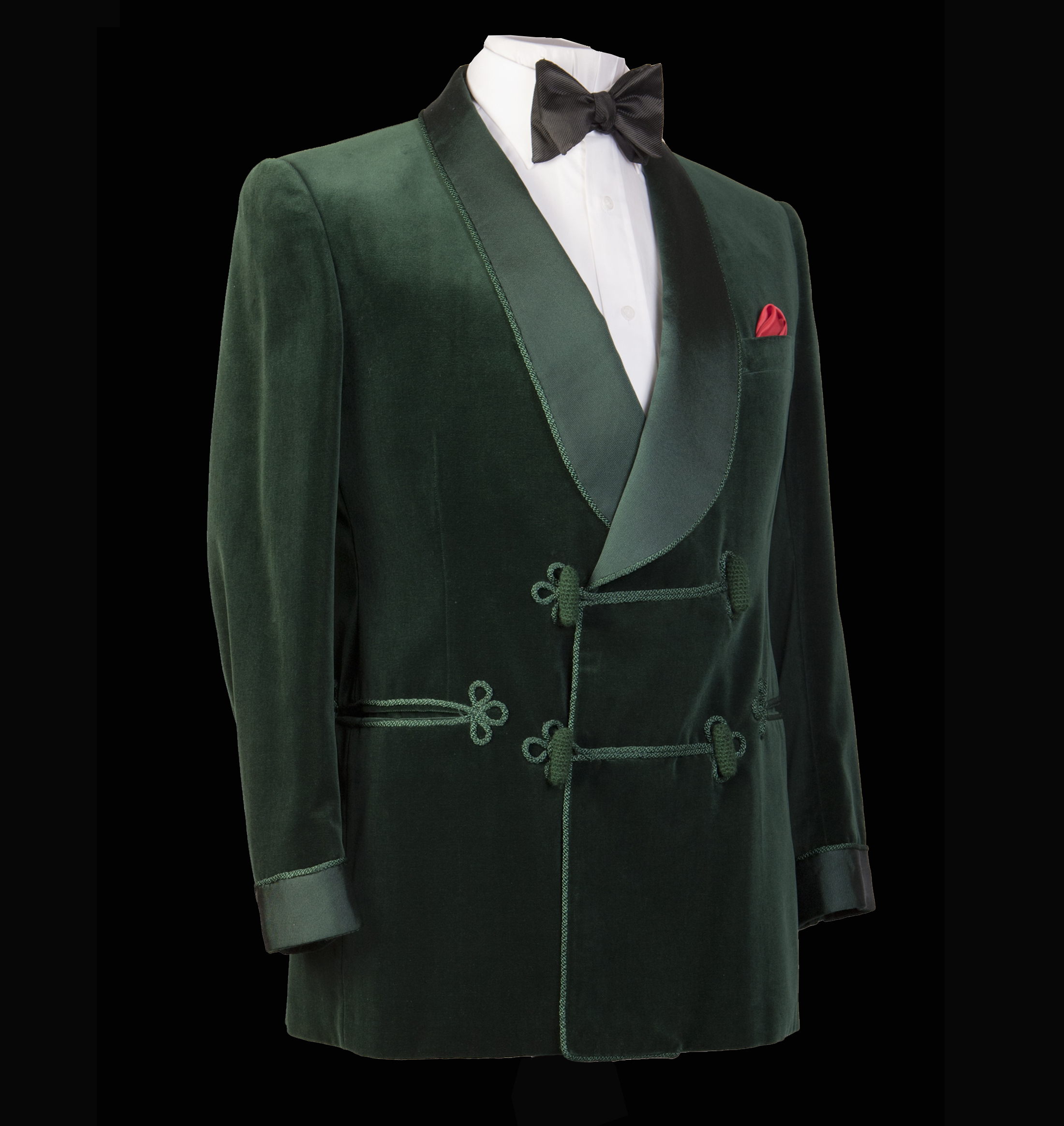 Green Velvet Bespoke Smoking Jacket with black bow tie