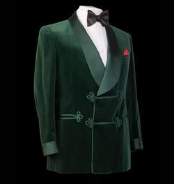 Green Velvet Bespoke Smoking Jacket with black bow tie