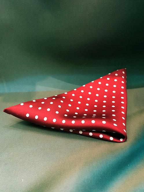 Red Silk Polka Dot Pocket Square