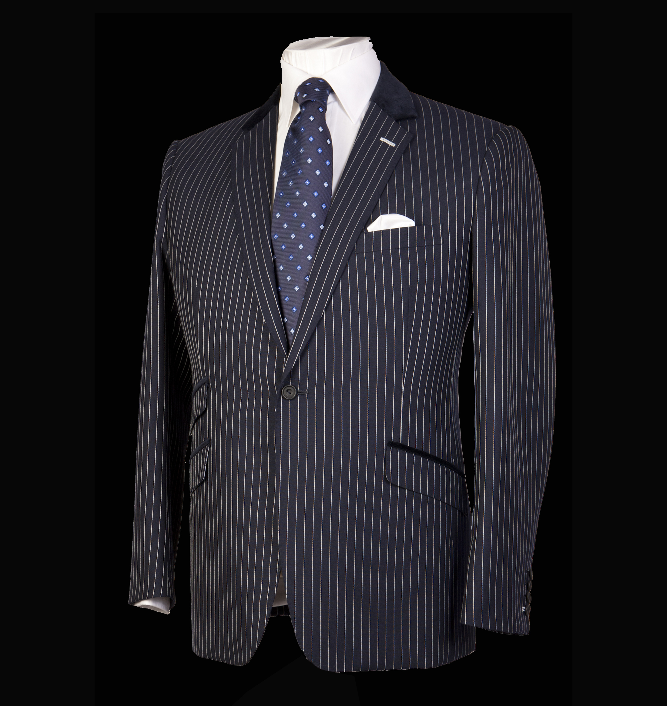 Bespoke Tailoring Pinstripe Jacket and Polkadot tie