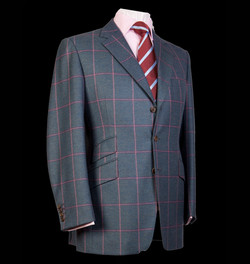 Bespoke Tailored Pink Overcheck Jacket with Red Striped Tie