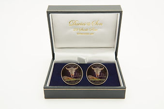 U.S Quarter Dollar cufflinks in Davies and son box