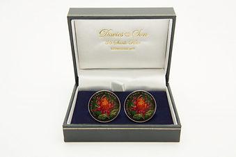 China 1 Yuan Chrysanthemum cufflinks Davies & Son