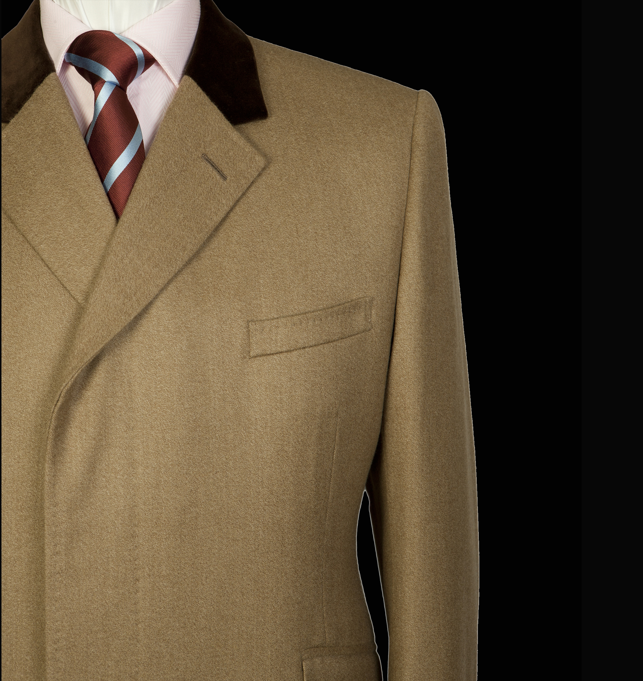 Camel Wool Coat With Striped Tie