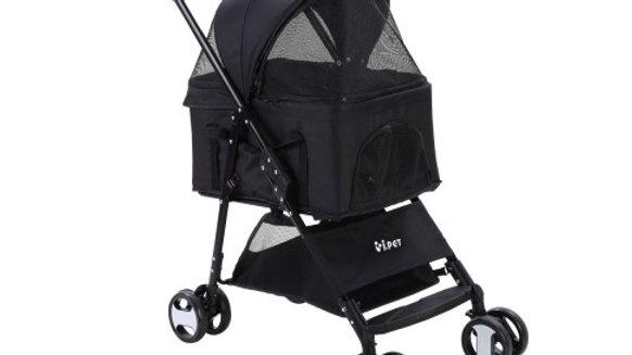 Pet Stroller Dog Carrier Foldable Pram 3 IN 1 Middle Size Black