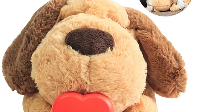 Dog Toy Plush Toy Comfortable Behavioral Training Aid Toy Heart Beat Soothing