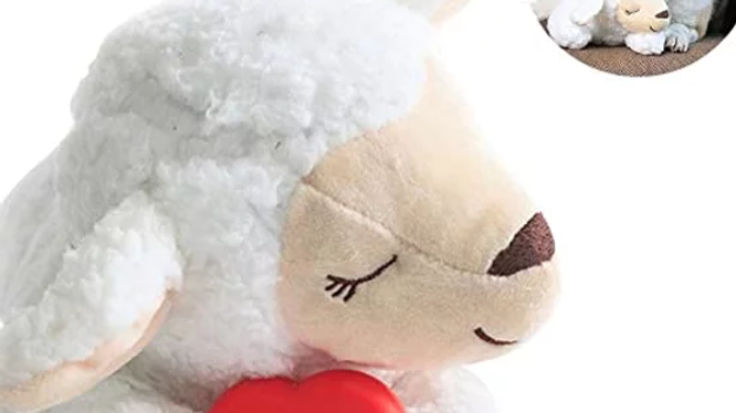 Cute Animal Shape Heartbeat Lamb Behavioral Training Toy Plush Pet Comfortable