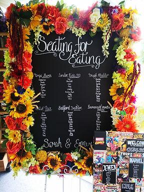 Table Plan - Floral Frame  - Chalkboard
