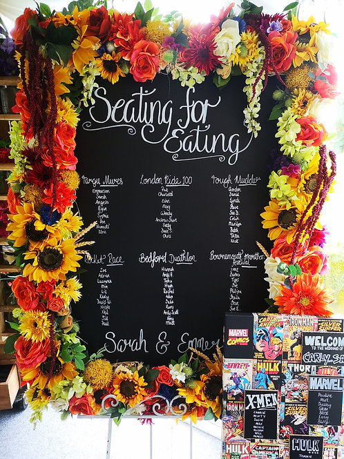 Table Plan - Floral Frame  - Chalkboard