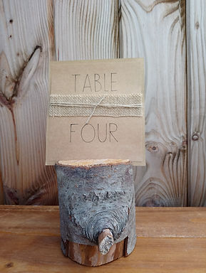 Table Number Card - Kraft Card Stock Hessian and Lace in Mini Log