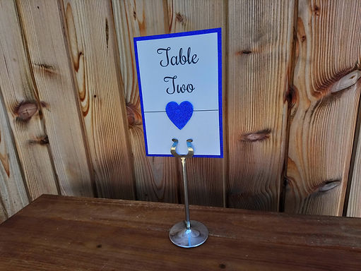 Table Number Card - Colour Matched with Fabric Heart