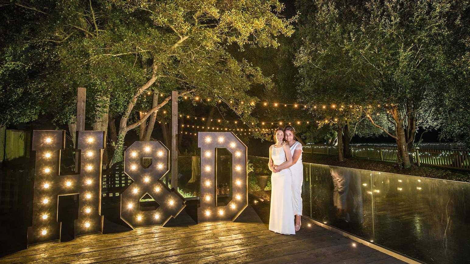 Giant lightup letters at Sopley Mill
