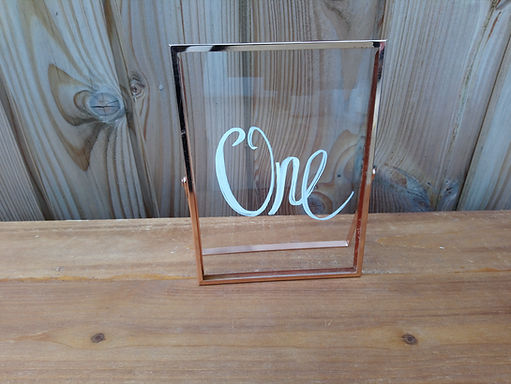 Table Number - Clear glass in rose gold frame