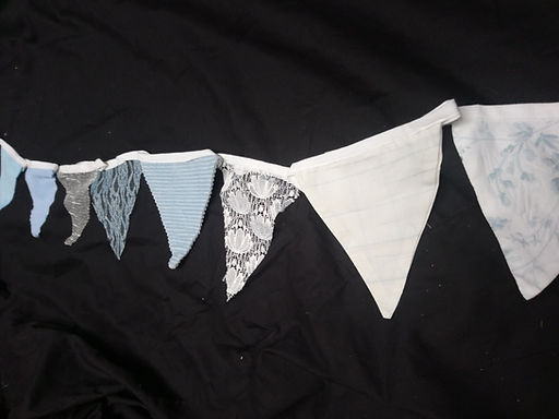 Bunting - Lace and dusky blue