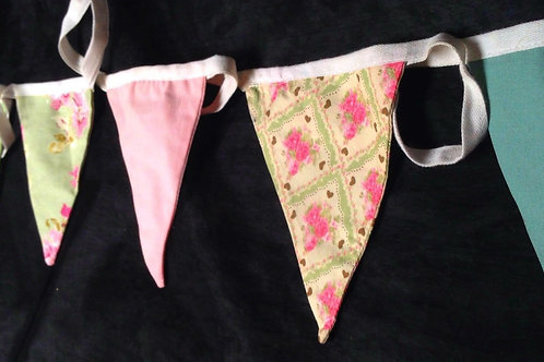 Bunting - Classic pastel floral shades of pink and green