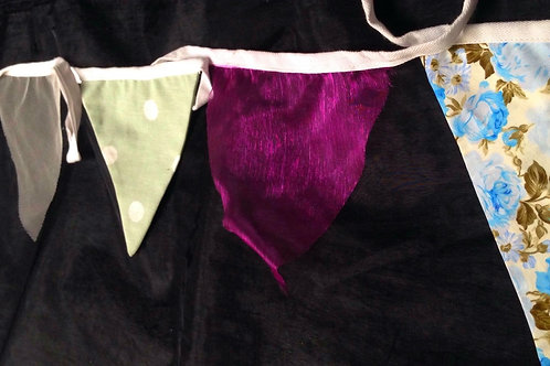 Bunting - Sage polka dot with shades of floral blue and splashes of burgundy red