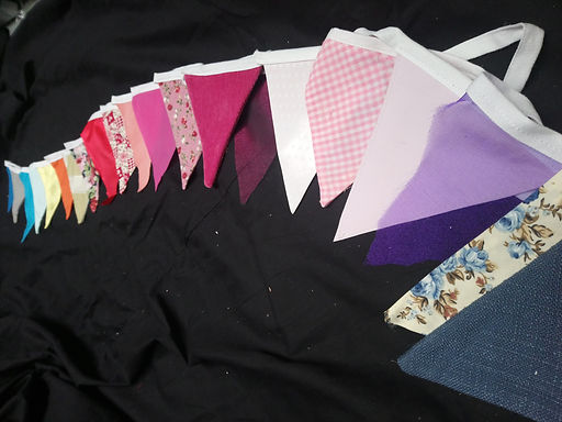 Bunting - Pinks purples and lilacs mixed with various florals