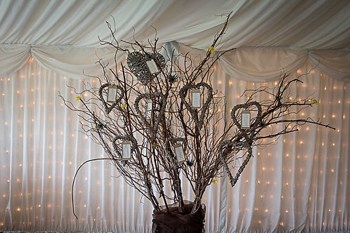 Table Plan - Willow Tree - Natural vine hearts - Printed Tags