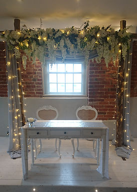 Arch - Wisteria with lights and drapes