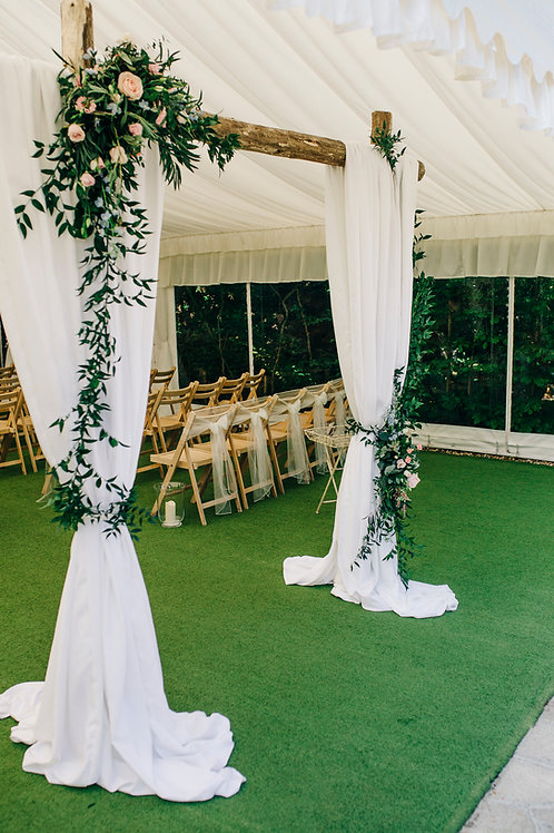 Arch - Wooden Pole with Curtain Drapes and Ruscus Sprays