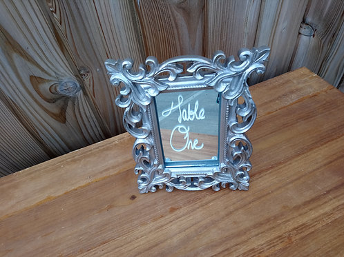 Table Number - Table Name - Mirror - Silver Floral Scroll