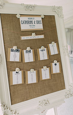 Table Plan - Ivory Frame - Hessian Back - Printed Tag Stationery