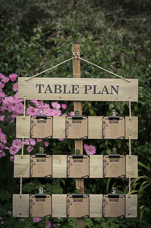 Table Plan - Natural Wood Post - Clip board