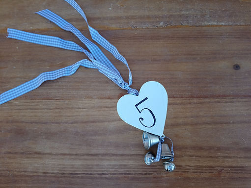 Table Number - Heart Tie on Tag