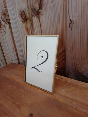 Table Name - Table Number - Clear Glass  - Thin Gold Frame