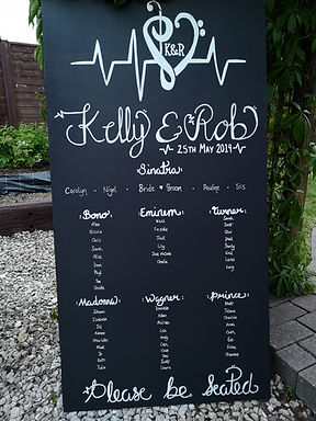 Chalk Board set of 3 incl Table Plan