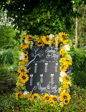 Table Plan - Chalkboard - Floral Frame - Sunflower