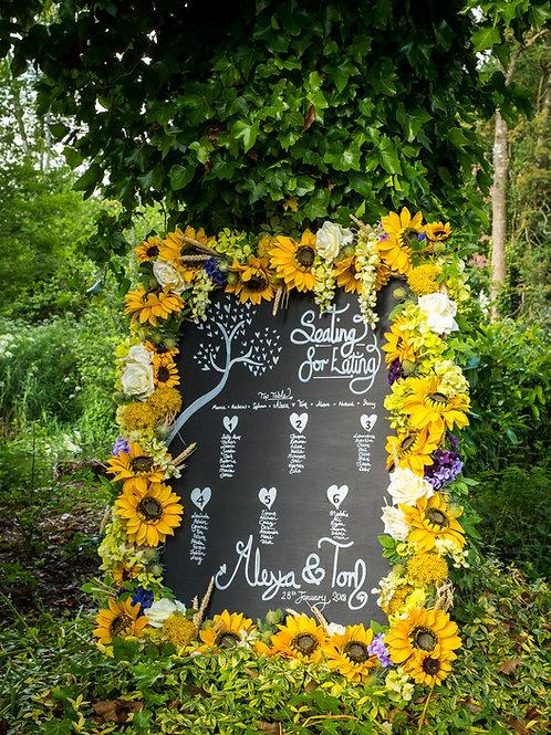 Table Plan - Chalkboard - Floral Frame - Sunflower