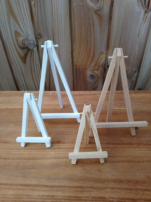 Easel Table Number Holders - Wooden - White or Natural - Hire Price