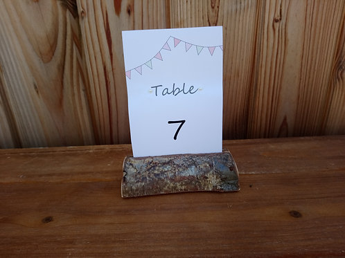 Table Number Card with Bunting Decal on Split log