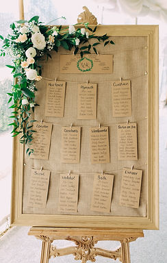 Table Plan - Natural Wood Frame - Hessian Back - Hanging Stationery